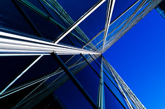 Looking up (BlackRockBacon) Tags: blue light arizona building phoenix up lines architechture downtown pentax structure k5 tamron1750