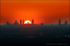 Sunset Over Atlanta, Georgia (OldUncleMe) Tags: park city atlanta sunset sky urban usa sun rock night georgia landscape evening goal twilight unitedstates horizon telephoto granite redsky stonemountain d3 goalposts stonemountainpark aps021909 300mmf40af