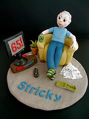 65th Birthday Cake Topper (abbietabbie) Tags: beer cake tv newspapers books explore beercan birthdaycake pottedplant remotecontrol slippers retirement tvstand 65th trowel mywinners pensionbook
