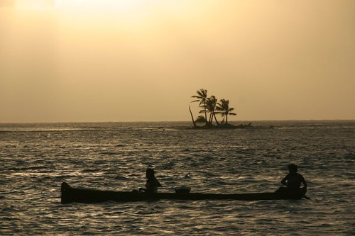 Sunset over the San Blas Islands, Panama.