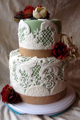 Lace Wedding Cake (ArtisanCakeCompany) Tags: birthday wedding red roses brown green cake oregon vintage portland shower cupcakes lace weddingcake special bakery salem occasion grooms artisan doiley keizer bakeries fondant lacecake artisancakecompany