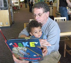 it is all about jake!  [1 of 7] [290/365] (sansanparrots) Tags: blue daddy reading kid dad jake library books read papa 2009 losaltos myblog 290 18monthsold project365 kidjake