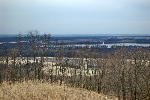 Pere Marquette State Park, in Grafton, Illinois, USA - view of the Illinois River from the top of hill