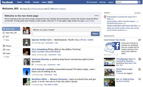 New Facebook Home Page - March 12 2009