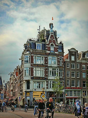 More Amsterdam (maistora) Tags: street city blue houses sky holland color colour netherlands amsterdam architecture clouds buildings square cycling bikes sunny bicycles springtime maistora