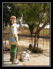 kaavalkaaran (Avanibhajana) Tags: india nature temple worship god guard culture belief divine sacred basil tradition hindu tamilnadu protect tulsi trident dharmapuri muneeswaran southinida muniappan hanumantheertham