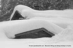 Snow on huts