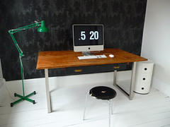 white office, 5:20 (Anna @ D16) Tags: lighting wood wallpaper white black green office arnejacobsen imac desk victorian anglepoise myhouse renovation stool rowhouse firtree kartell backroom componibili fermliving whitepaintedfloor