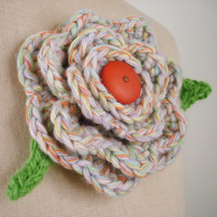 Summer Blossom Brooch (phydeaux designs) Tags: summer orange flower green spring knitting pin blossom handmade brooch crochet knit jewelry jewellery accessories knitted fiber crocheted accessory phydeaux phydeauxdesigns