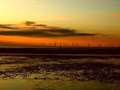 Red Sky at Night....... (Tony Shertila) Tags: sunset red sea england sky colour beach liverpool windturbine crosby anotherplace mywinners skycloudssun anthonygormly platinumheartaward proudshopper theperfectphotographer goldstaraward
