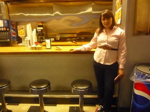 christine at the snack bar