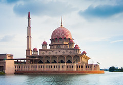 Putrajaya Mosque on Water (Jim Boud) Tags: digital canon eos rebel asia mosque malaysia putrajaya soe hdr xsi topaz 450d jimboud jrbxom jamesboud jamesboudphotoart