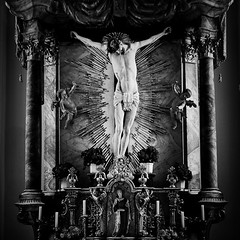 Dying (Martin Gommel) Tags: life blackandwhite bw white black death gold austria faith jesus dying fadeaway