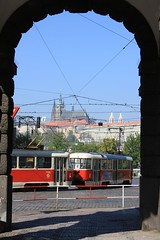 -Prague tramway- (Vt Hassan) Tags: santa castle architecture republic czech prague cathedral picturesthroughholes gothic retro tramway praguecastle tramwaj vt