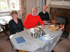 BBC Look North's Harry Gration (centre) with Lynn and Stephen of West Winds Yorkshire Tearooms