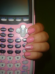 Nerd manicure :P (lifelalife) Tags: pink silver hand nails chrome math calculator manicure calculus nailpolish nailart ti84plus