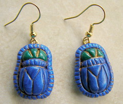 Egyptian Scarab Beetle Earrings (intothedawn) Tags: polymerclay premo earrings scarab egypt egyptian beetle scarabbeetle blue green amulet sculpture sculpted