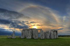 Sunset Solar Halo over Stonehenge1 (mpanch) Tags: uk england english beautiful beauty mystery clouds landscape ancient europe dusk halo mysterious historical mystical prehistoric hdr neolithic henge icebow gloriole