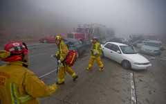 HighwayPileup (EricReedPhoto) Tags: ca usa fog crash 15 wreck firefighters injured pileup i15 injuries multicar cajonpass sigalert heavyfog ericreed