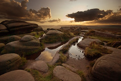 Stanage Rock Pools (andy_AHG) Tags: sunset sky tourism clouds landscape outdoors evening rocks heather peakdistrict scenic darkpeak moorland gritstone stanageedge nikond200 ruralcountryside