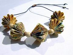 peak district origami bead necklace (Liz Hamman) Tags: england paper necklace beads origami map district craft peak jewelry jewellery folded
