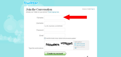 Twitter - Create an Account full name