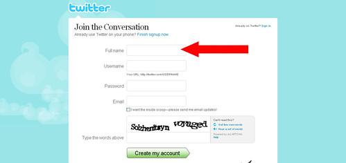 Twitter - Create an Account full name