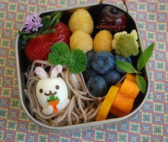 bunny egg bento (sherimiya ) Tags: cute bunny fruits kid strawberry toddler sweet egg potato snack soba bento quail obento sherimiya