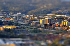 Downtown Chattanooga (Pheno Me Non) Tags: chattanooga colors miniature saturated nikon downtown cityscape bokeh tennessee vibrant effect gaussianblur tiltshift d90 sunsetbuildings