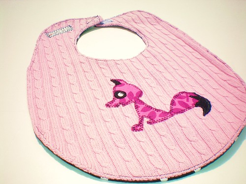 Pink and Black Fox baby Bib