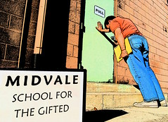Midvale School for the Gifted (Jeremy Stockwell) Tags: door selfportrait me sign pull nikon funny gimp push instructions portal groundlevel recreation homage leaning portals garylarson lean pushing lowperspective thefarside d40 jeremystockwell selfportraitchallenge midvaleschoolforthegifted jeremystockwellpix nikond40