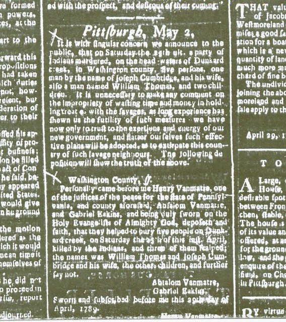 Clipping from the May 9 1789 Pittsburgh Gazette