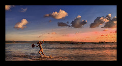 Kedongan,Jimbaran - Balinese Fishing Village (Mio Cade) Tags: boy sunset bali cloud beach boat kid wave run jimbaran kedongan
