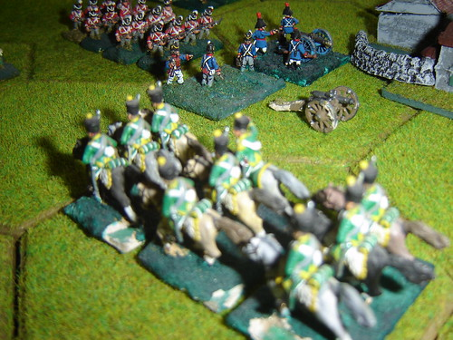 French Hussars make an attempt on the guns north of Hougomont