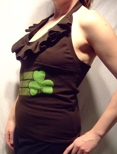 Pleated St. Patty's Day Halter Party shirt