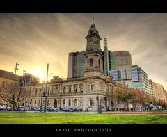 Adelaide GPO (Revisited) :: HDR (Artie | Photography :: I'm a lazy boy :)) Tags: city building tower heritage classic clock architecture photoshop canon sandstone cs2 tripod postoffice victorian australia structure adelaide 1855mm southaustralia efs hdr gpo artie generalpostoffice 3xp photomatix tonemapping tonemap 400d rebelxti