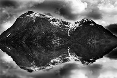 Highlands Reflection (beth ashley alexander) Tags: blackandwhite lake mountains water photoshop scotland highlands flood loch canon50d bethalexander