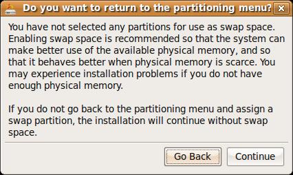 install - swap eror