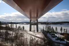 Under the High Coast bridge (/J) Tags: bridge winter march sweden under sverige beneath suspensionbridge 2009 norrland highcoastbridge thehighcoast highcoast angermanland västernorrland thehighcoastbridge högakusten högakustenbron ångermanland ångermanlan ångermanälven