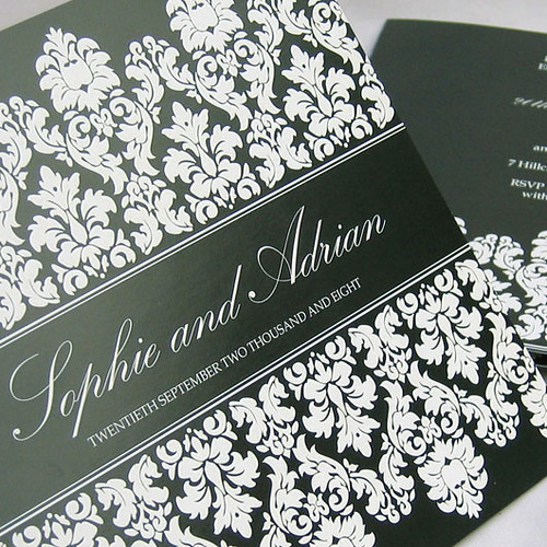 Regency black wedding invitation from mini Moko, Wedding invitation sample, wedding invitation idea, regency black wedding invitation, wedding invitation, flowers, photos