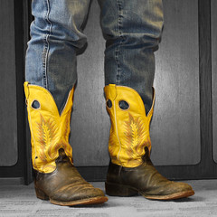 some boots are made for working (randi rivers) Tags: yellow work boot texas boots jeans kicks 2009 randi cowboyboots kickinit yellowboots somebootsaremadeforworking