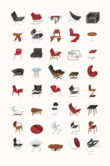 Mid-Century Modern Furniture Poster (James Provost) Tags: home modern illustration vintage print poster furniture editorial illustrator bertoia noguchi eames midcentury vanderrohe editorialillustration