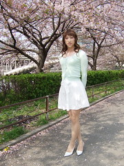 day109-210 cherry blossoms (Yumiko Misaki) Tags: white green cherry blossoms knit skirt osaka lime day109