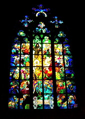 Stained Glass Window of St. Vitus Cathedral - Prague, Czech Republic (world revolution) Tags: window blackbackground europe prague cathedral bright stainedglass christian czechrepublic christianity biblical stvituscathedral detailed gothicarchitecture centraleurope europeanreligion storiesfromthebible