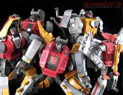 Dinobots Group shot 2 (frenzy_rumble) Tags: transformer slag sludge swoop snarl autobots kitbash grimlock dinobots enamelpaint frenzyrumblecom