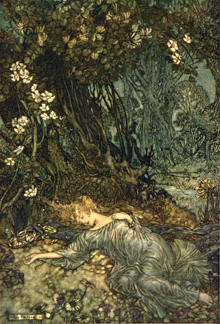 Arthur Rackham, Midsummer Night's Dream, Titania Sleeping, 1908