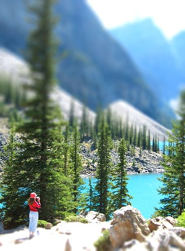 tilt shift, moraine lake, canada.