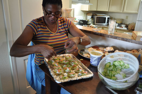 Lorraine making cucumber sandwiches