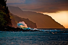 Crash (tedjohnjacobs) Tags: sunset hawaii crash shoreline wave kauai napali keebeach kalalautrail nikon18200vr nikond90