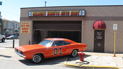 The Dukes of Hazzard TV show General Lee car at the Belmont Heights Auto Body Shop. Chicago Illinois. April 2009.